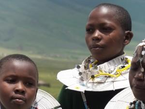A school girl at Bulati School, in the  Ngorongoro district of Tanzania, wearing traditional Maasai jewellery.