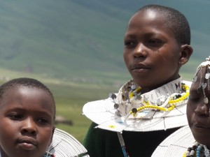 A school girl at Bulati School, in the  Ngorongoro district of Tanzania, wearing traditional Maasai jewellery.
